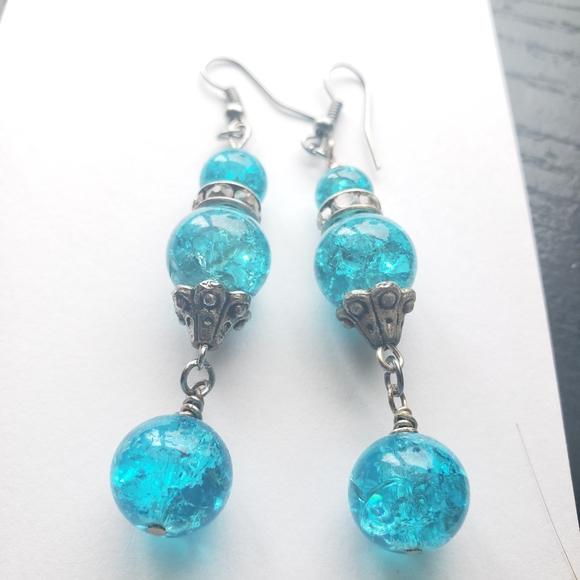Blue crystal glass bead earrings
